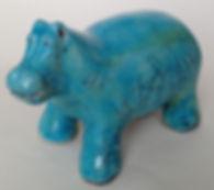 Raku Turquoise Hippo Nathalie Hamill