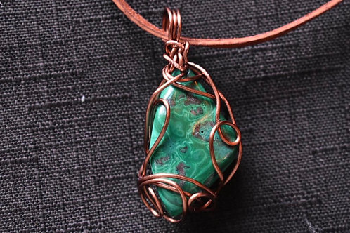 Copper Wrapped Crystal Necklace