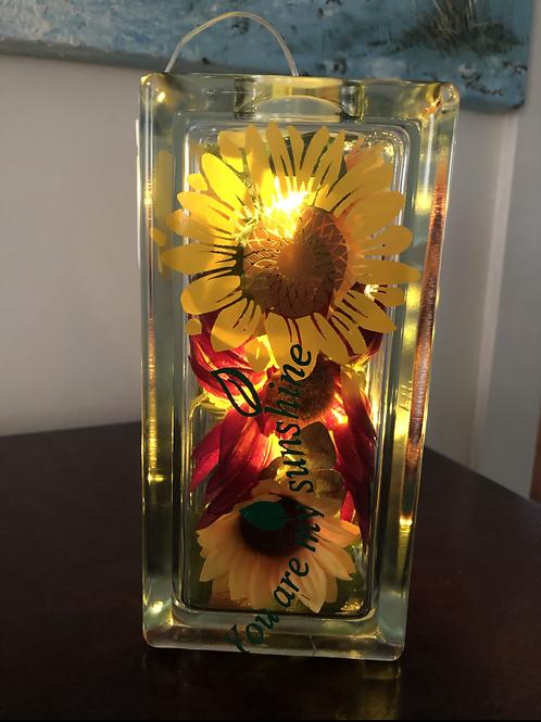 Fall Glass Block ( Sunflower)