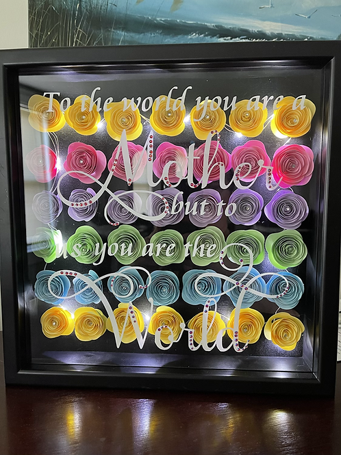 Mother shadow box with lights/bling 8x10