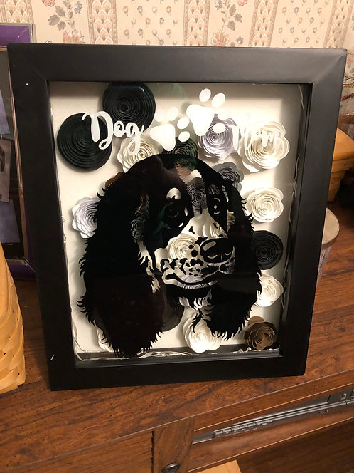 Pet Shadow Box Large w/flowers )