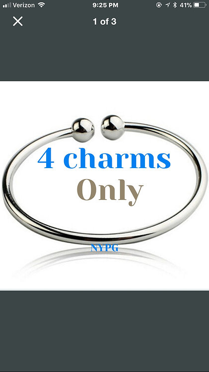 Pendant Bracelet with 4 charms only ( no cage)