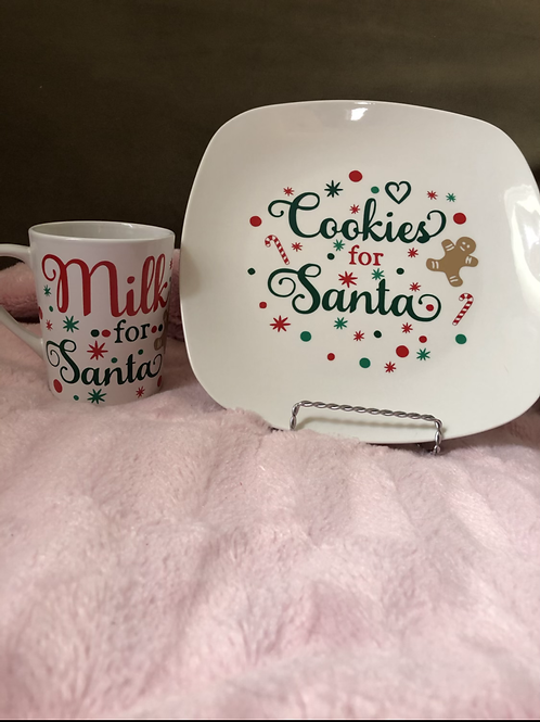 Cookies/milk Santa plate/cup set
