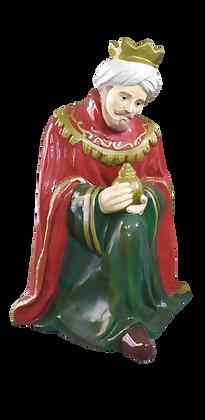 Rei Mago Melchior Presépio Sacro em fibra de vidro