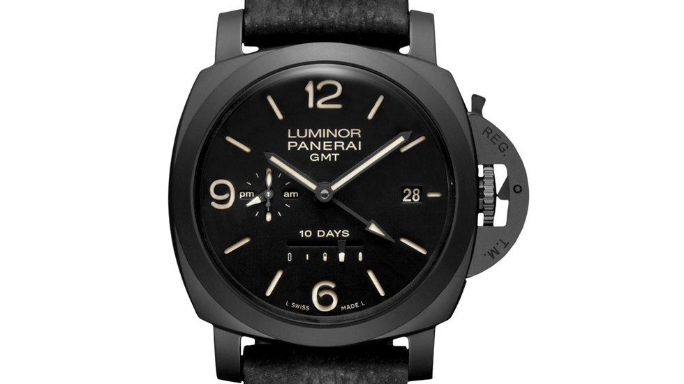 Panerai Luminor 1950 10 Days Black Dial Black Leather Men's Watch PAM00335
