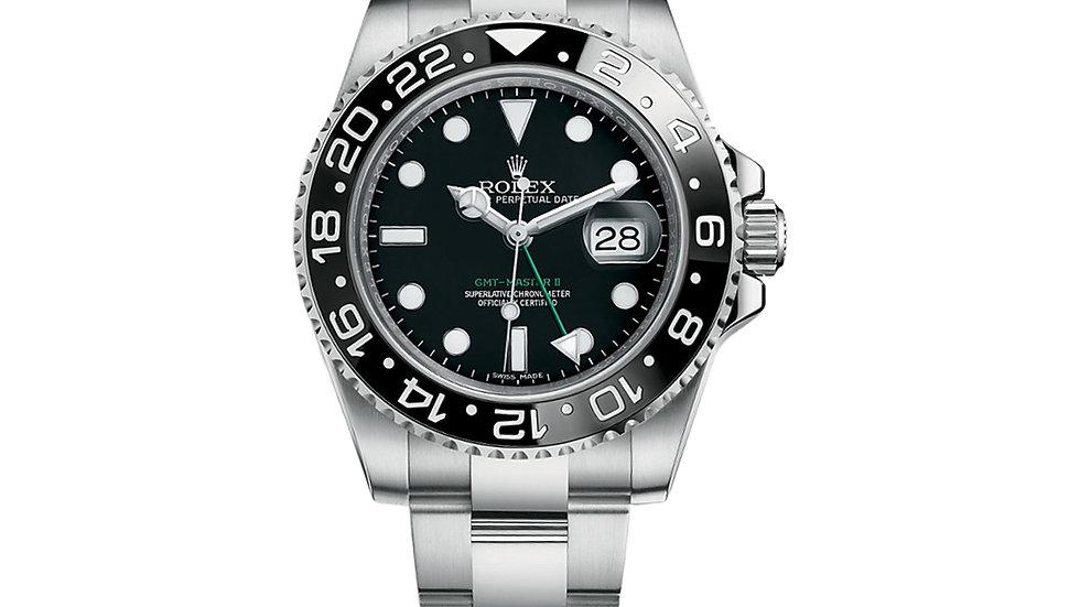 Rolex GMT Master II Black Dial Oyster Bracelet Steel Men's Watch Item 116710LN