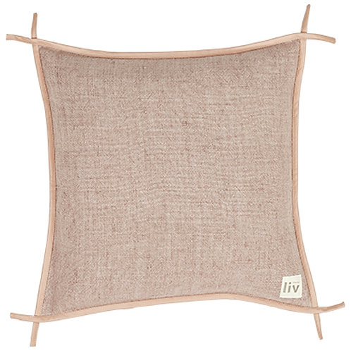 Linen and leather cushion