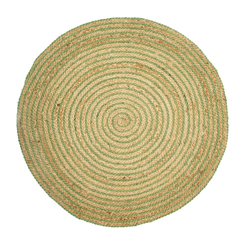 Natural & Green Jute Round Rug