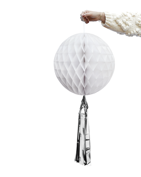 White Honeycomb  Ball with Silver Tassel