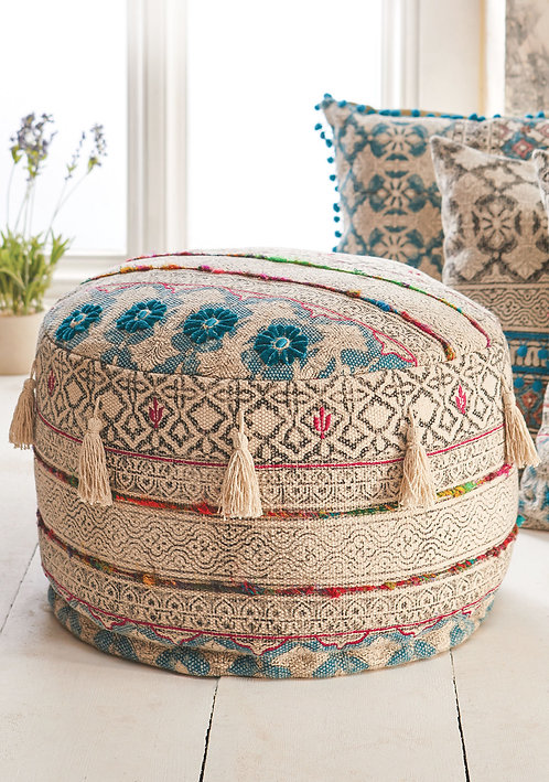 Tribal Block Printed Pouffe