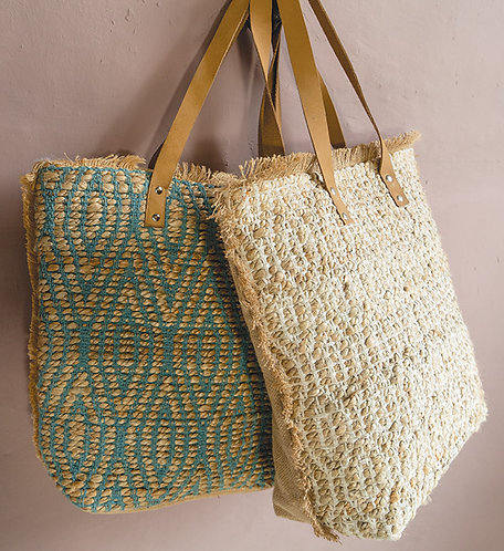Jute & Cotton Bag With Leather Handles