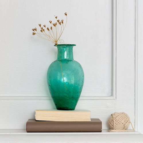 Chambal Vase Recycled Glass - Teal
