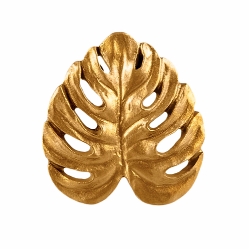 Golden Cheese Plant Leaf Drawer Knob