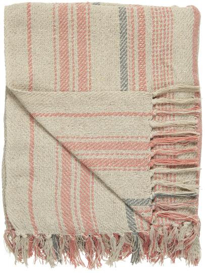 Cream Throw - Coral Sands and Grey stripe