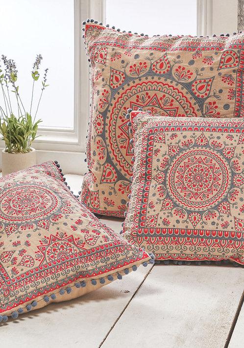 Large Embroidered Mandala Cushion With Pom Poms