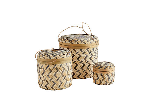 Round Bamboo Boxes with Lid - Grey