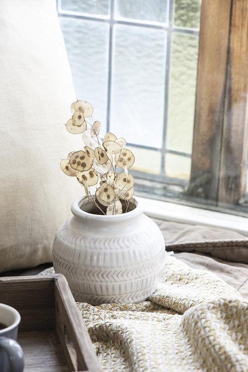 White Patterned Vase