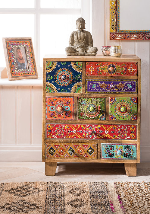 Hand Painted 9 Drawer Cabinet / Chest