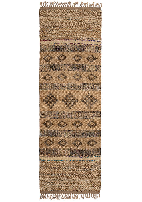 Blockprint Jute Rug with Wool and Recycled Sari
