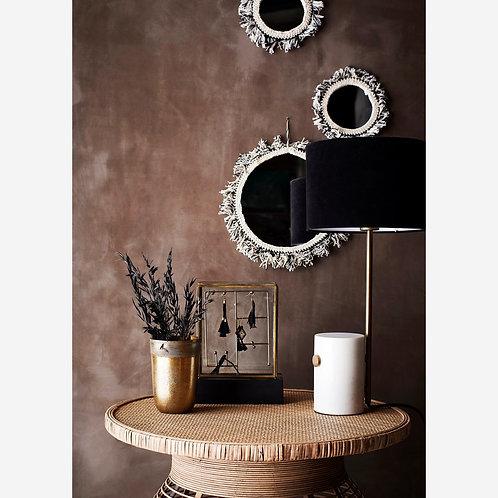 Black Cotton Fringe Mirror
