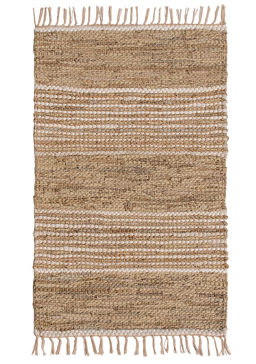 Leather & Jute Recycle Rug - Natural - Small
