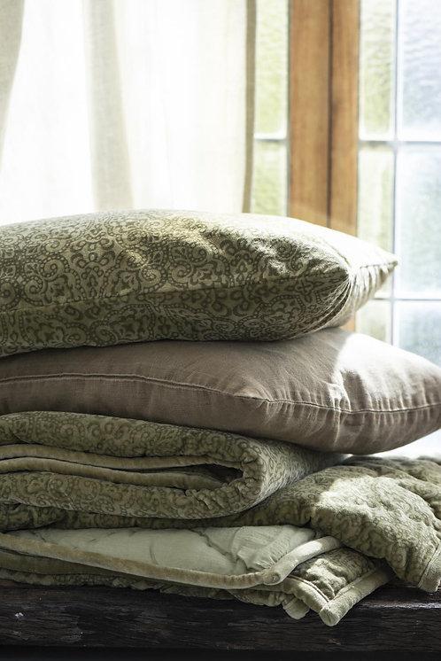 Velvet green printed cushion
