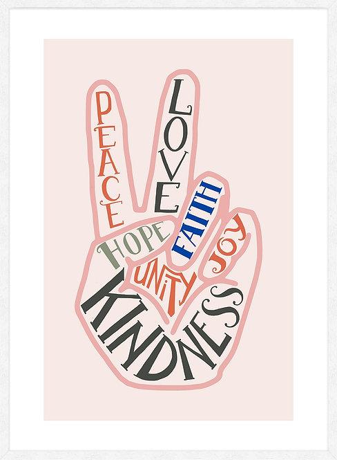 Peace Fingers Typography Block Colour Print - 40x50cm