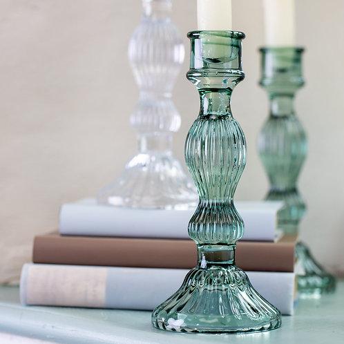 Glass Candlestick Bella Green