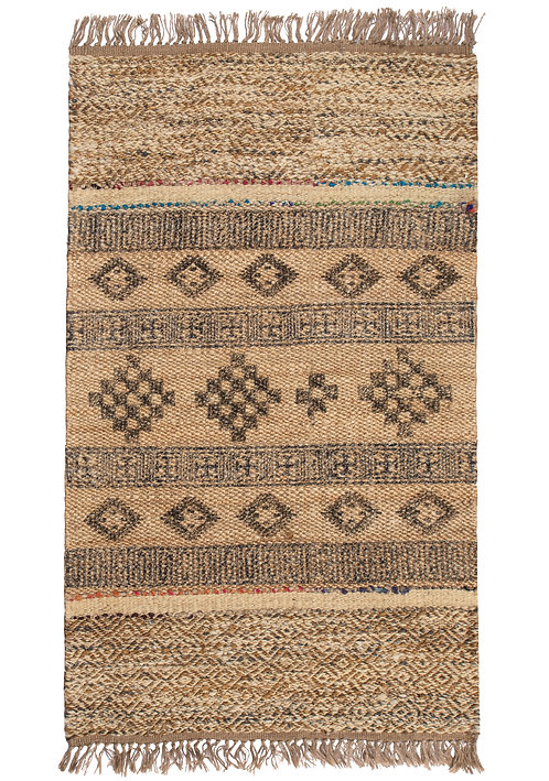 Blockprint Jute Rug with Wool and Recycled Sari 90 x 150cm