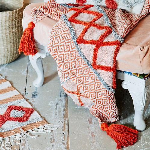 Blanket Throw with Orange Tassel