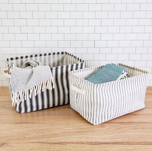 Ticking Stripe Storage Baskets