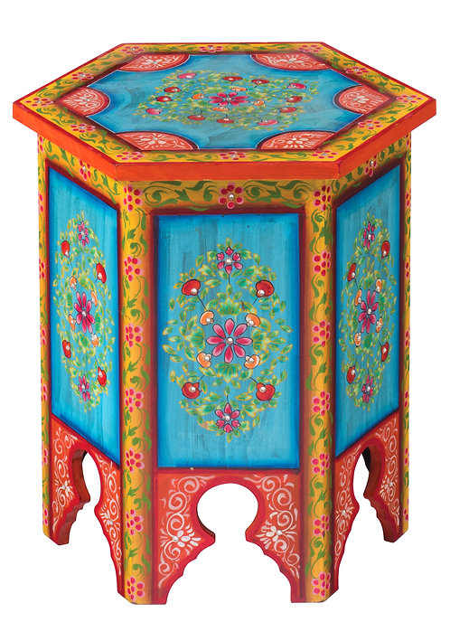 Indian Hand Painted Hexagonal Coffee / Lamp Table