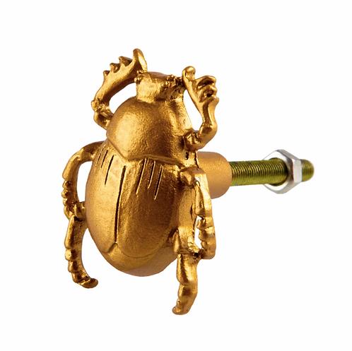 Golden Scarab Beetle Drawer Knob