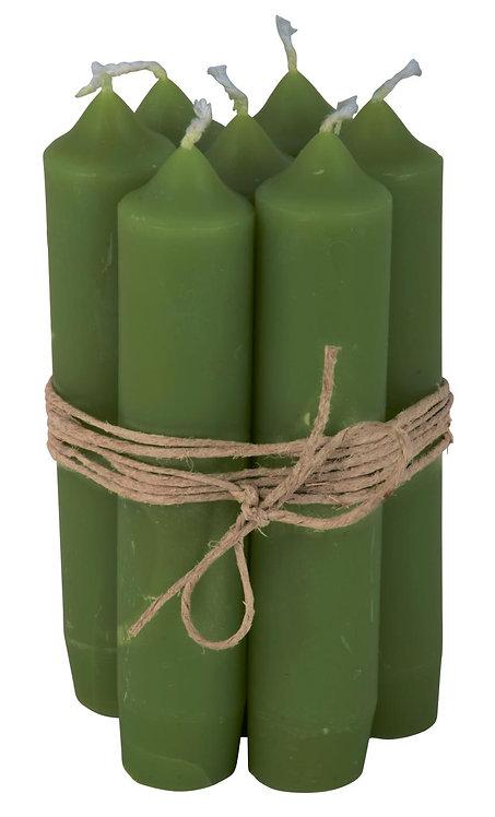 Short Dinner Candles - 7 - Moss Green