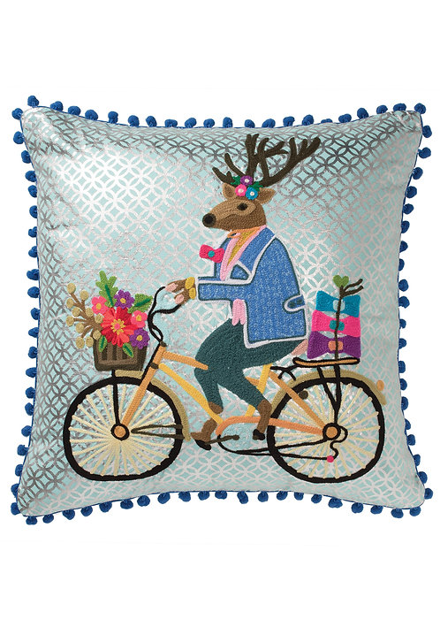 Hand Embroidered Stag Cushion