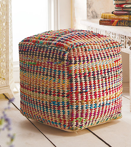 Multi Recycled Fabric & Cotton Pouffe