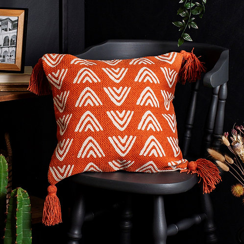 Terracotta Triangles Block Print Cushion