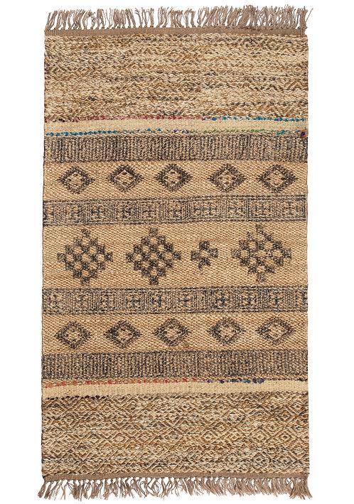 Blockprint Jute Rug with Wool and Recycled Sari