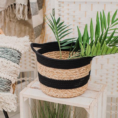 Black Rope & Seagrass Basket