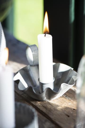Candle Holder with Crimped Edge