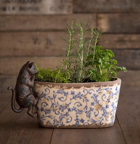 Oval floral ceramic planter