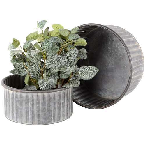 Zinc Ribbed Planter