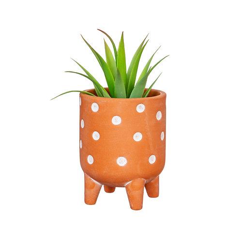 Polka Dot Terracotta Leggy Planter
