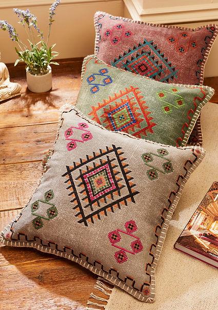 Satara Embroidered Stone Wash Cushion.jp