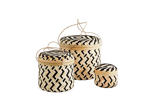 Round Bamboo Boxes with Lid - Black
