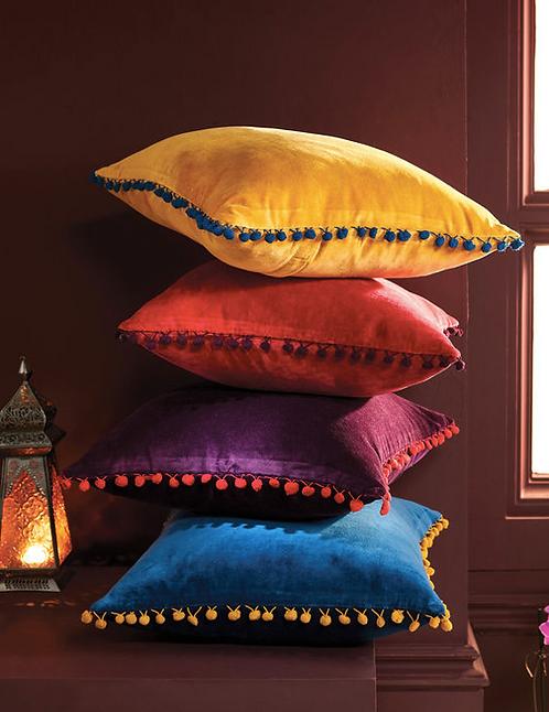 Velvet Cushion - Pom Poms