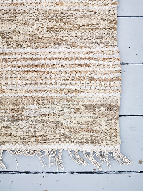 Leather & Jute Recycle Rug - Natural - Large