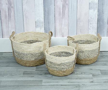 Set of 3 Straw Baskets
