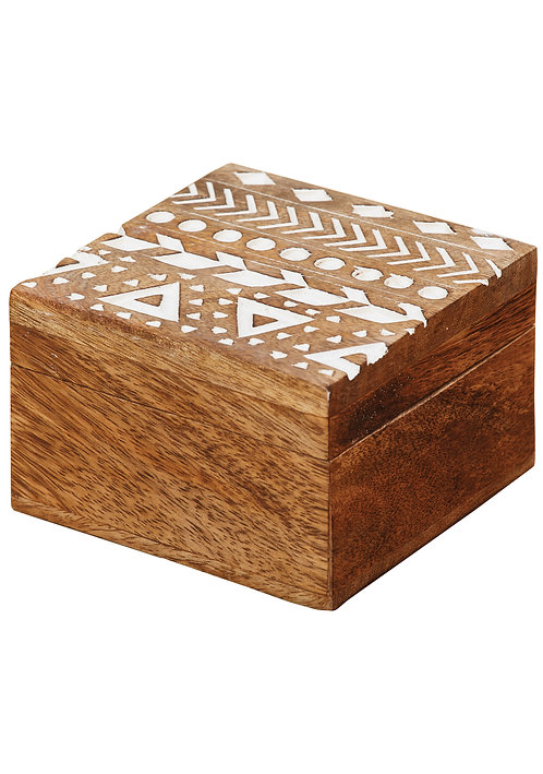 Aztec Design Carved Mango Wood Box