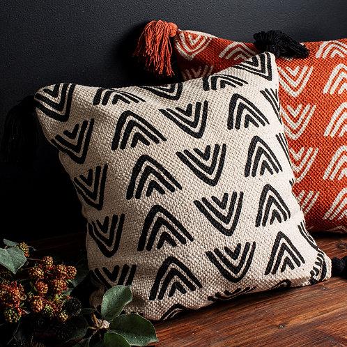 Mono Triangles Block Print Cushion